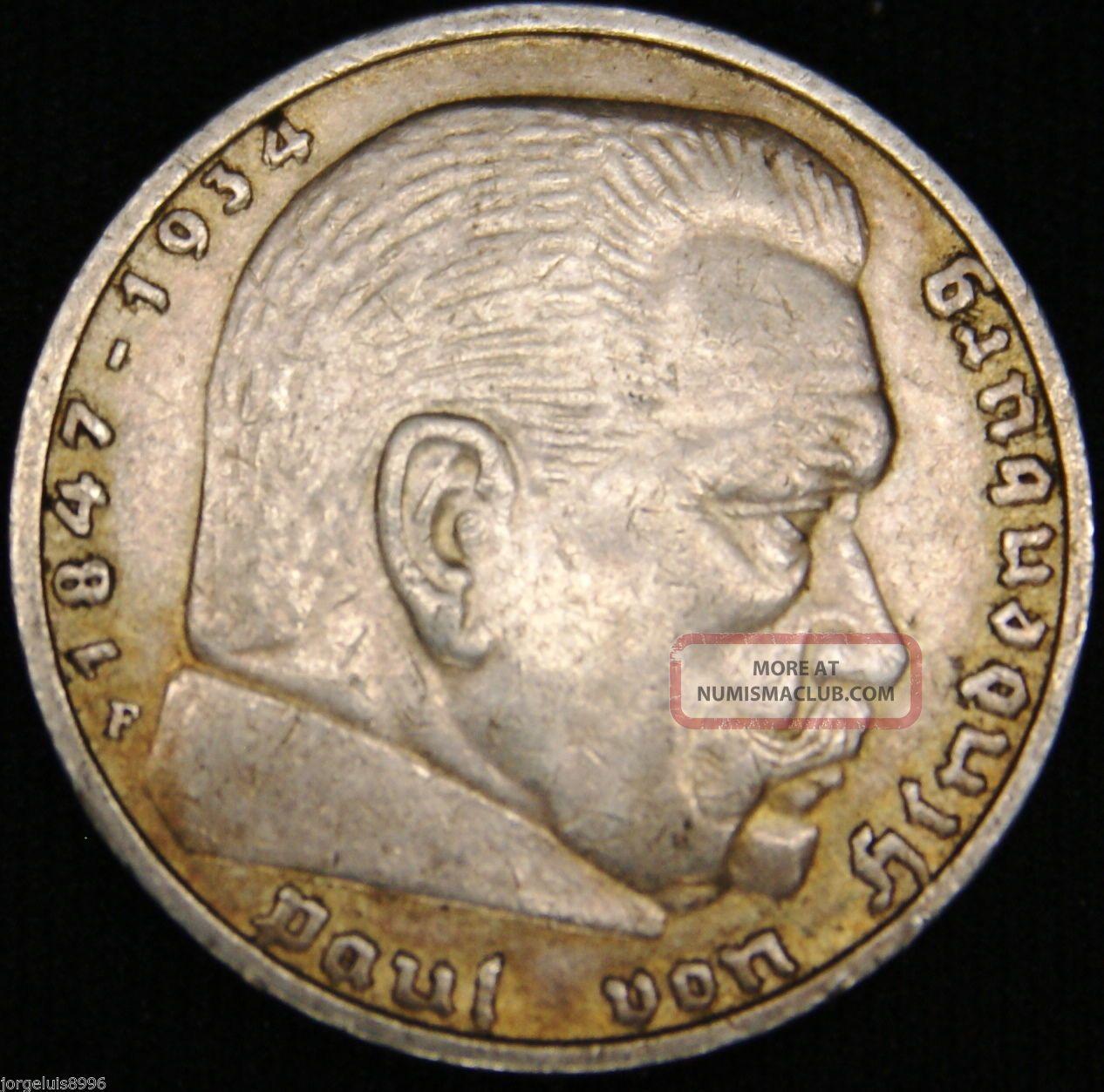 German Nazi Silver Coin 5 Rm 1937 F Big Swastika