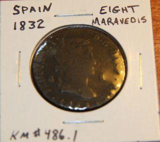 Spain - Fernando Vii Coin 8 Maravedis 1832 photo