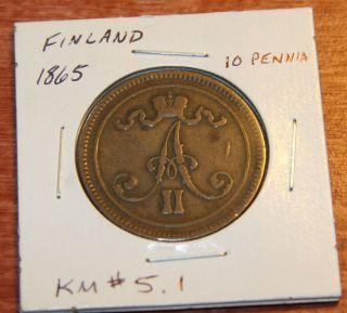 1865 Finland/russia Alexander Ii 10 Pennia Brown Km 5.  1 photo