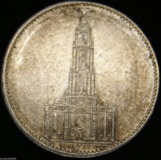German Nazi Silver Coin 5 Rm 1934 J Garrison Church,  2 Swastikas photo