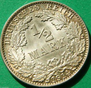 German Empire Silver Coin 1914 J 1/2 Mark photo