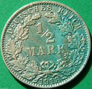 German Empire Silver Coin 1918 A 1/2 Mark Patina photo