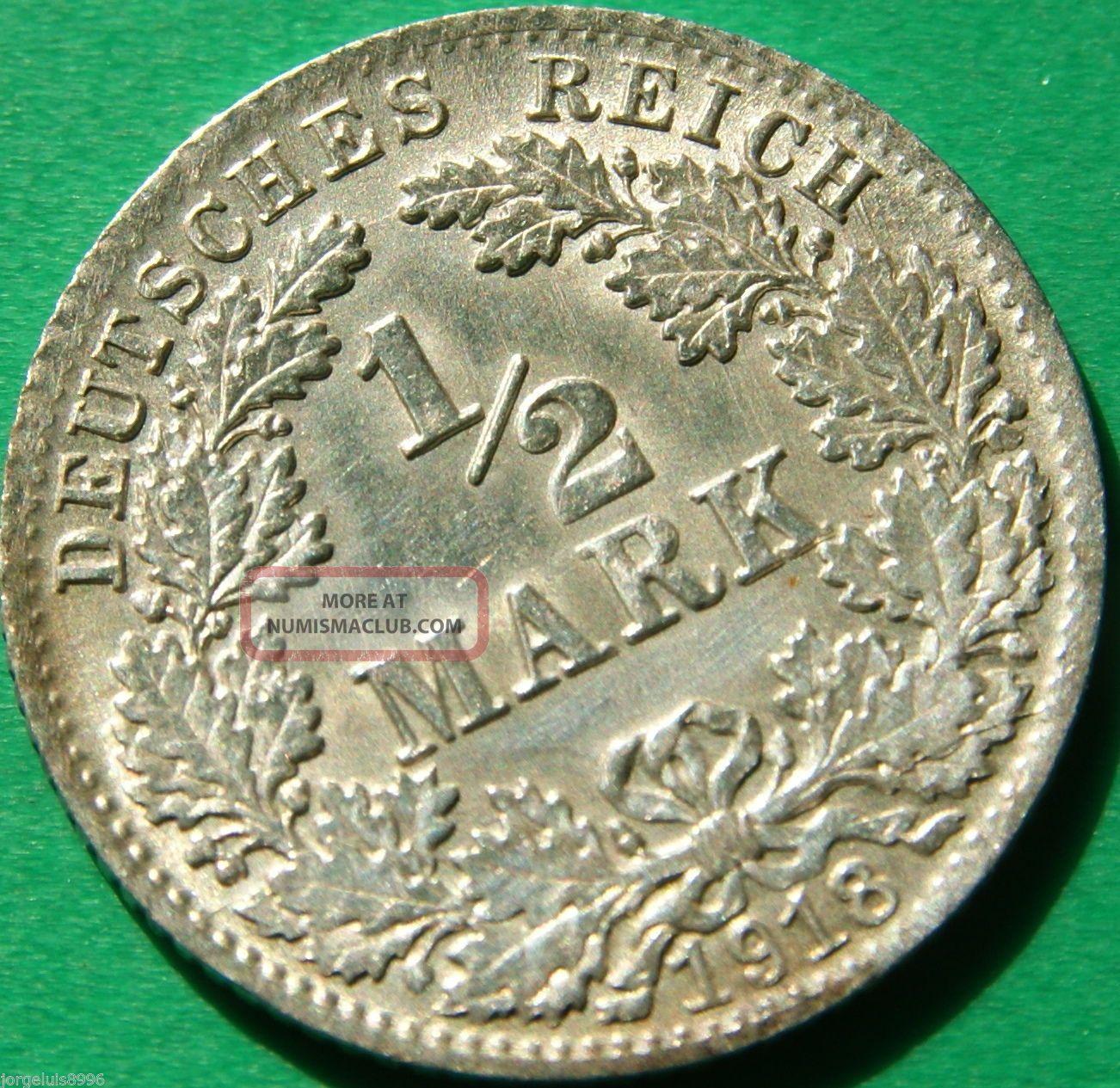 German Empire Silver Coin 1918 D 1/2 Mark Patina Germany photo