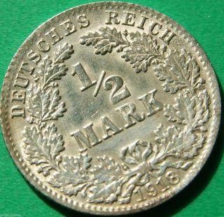 German Empire Silver Coin 1918 D 1/2 Mark Patina photo