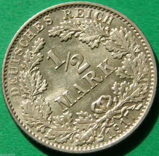 German Empire Silver Coin 1917 E 1/2 Mark photo