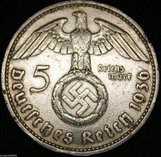 German Nazi Silver Coin 5 Rm 1936 F Big Swastika photo