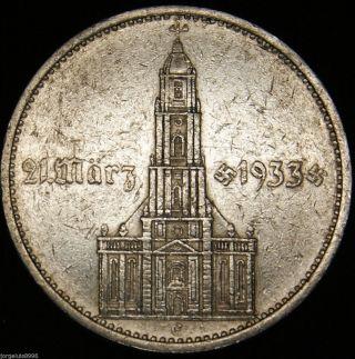 German Nazi Silver Coin 5 Rm 1934 E Garrison Church,  4 Swastikas W/d photo