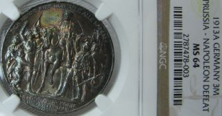 Germany Color 1913 A Ngc Ms 64 3 Mark Napoleon Prussia Color photo