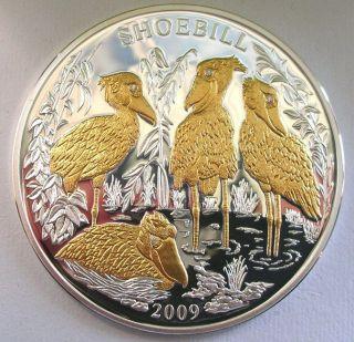 Rwanda 2009 Shoebill 1000 Francs Diamond 3oz Gild Silver Coin,  Proof photo