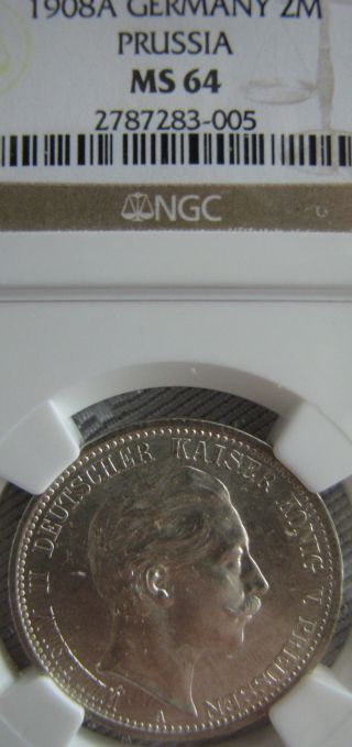 Germany 1908 A Ngc Ms 64 2 Mark Prussia Silver photo