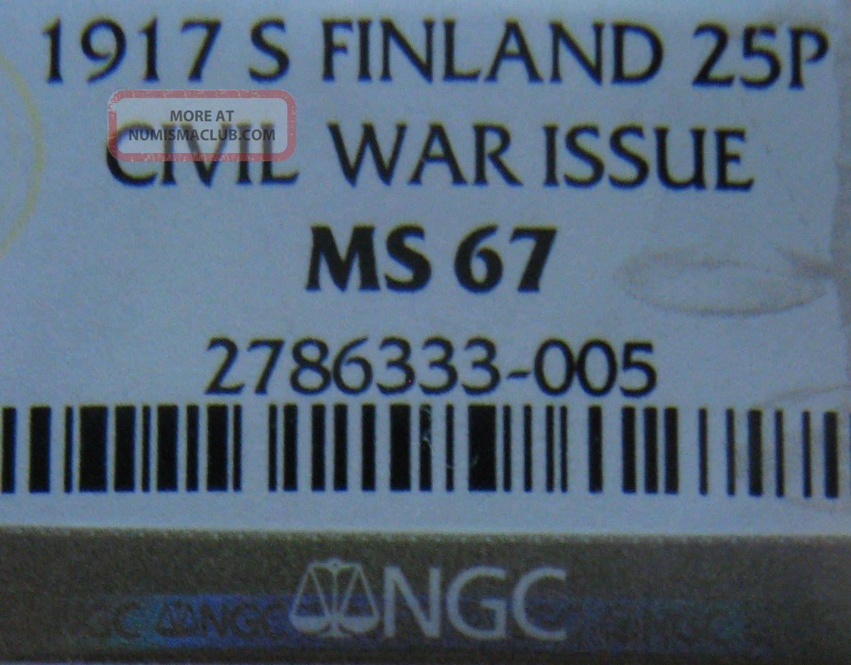 Finnland 25 Pennia Silver 1917 Ngc Ms67 Europe photo