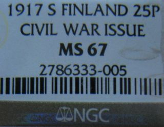Finnland 25 Pennia Silver 1917 Ngc Ms67 photo