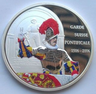 Congo 2006 Swiss Bodyguards 10 Francs Colour Silver Coin,  Proof photo