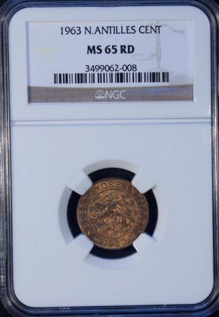 1963 Netherlands Antilles 1 Cent Ngc Ms 65 Rd Unc photo