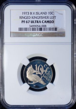 1973 British Virgin Islands 10 Cents Ngc Pf 67 Ultra Cameo photo