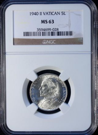 1940 Ii Vatican 5 Lire Silver Ngc Ms 63 Unc photo