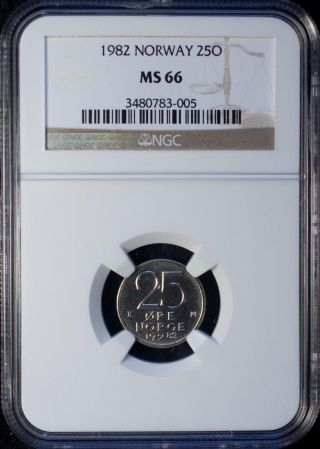 1982 Norway 25 Ore Ngc Ms 66 Copper - Nickel photo