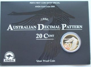 Australia 2009 Decimal Pattern 20 Cents Silver Coin,  Proof photo