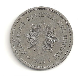 1901 - A Republica Oriental Del Uruguay 5 Centesimos Coin At E.  F.  + photo
