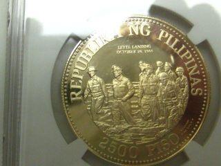 Philipines 1980 Fm Gold 2500 Piso Ngc Pf - 69uc Douglas Macarthur [241] photo