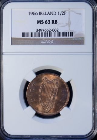 1966 Ireland 1/2 Penny Ngc Ms 63 Rb Unc Bronze photo