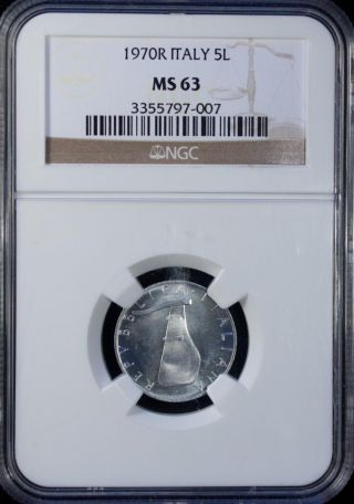 1970 Italy 5 Lire Ngc Ms 63 Unc Aluminum photo