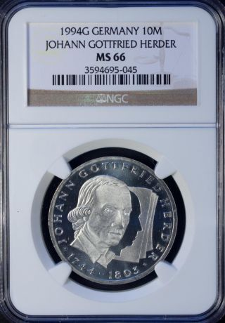 1994 Germany 10 Mark Silver Ngc Ms 66 Unc Johann Gottfried Herder photo