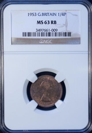 1953 Great Britain 1/4 Penny Ngc Ms 63 Unc Bronze photo