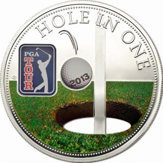Cook 2013 Hole In One 5 Dollars Large Size 1oz Silver Coin,  Prooflike photo