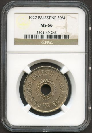 Israel,  Palestine,  1927,  20 Mils,  Ngc,  Unc Ms - 66 photo