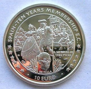 Isle Of Man 1996 Spain - 10 Years Membership 10 Euro Silver Coin,  Proof photo