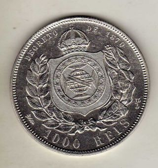 Brazil 1000 Reis 1876,  Silver Cleaned. photo