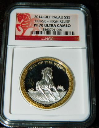 2014 Palau $5 Year Of The Horse Gilt 1oz High Relief Silver Coin Ngc Pf70 Uc photo