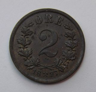 1897 Norway 2 Ore Bronze Coin Uncirculated photo