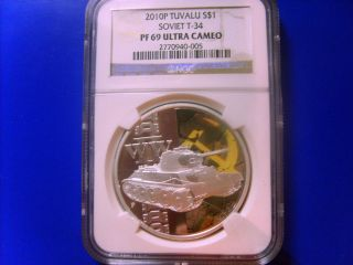 2010 P Tuvalu Silver $1 Soviet T - 34 Tank Coin Ngc Pf 69 Ultra Cameo Low Pop photo