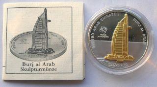 Cook 2009 Dubai Burj Al Arab 10 Dollars Gild 1oz Silver Coin,  Proof photo