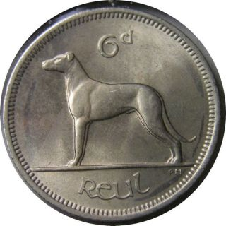 Elf Ireland 6 Pence 1963 Dog Wolfhound photo