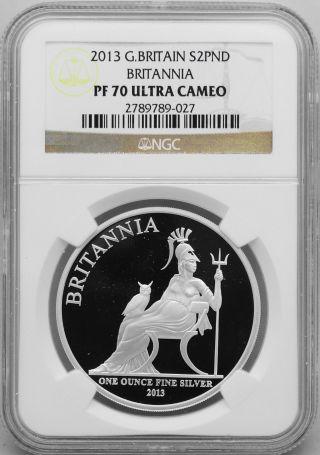 2013 R0yal Britannia 2 Pounds Silver Coin 1oz - Ngc Pf 70 Ultra Cameo photo