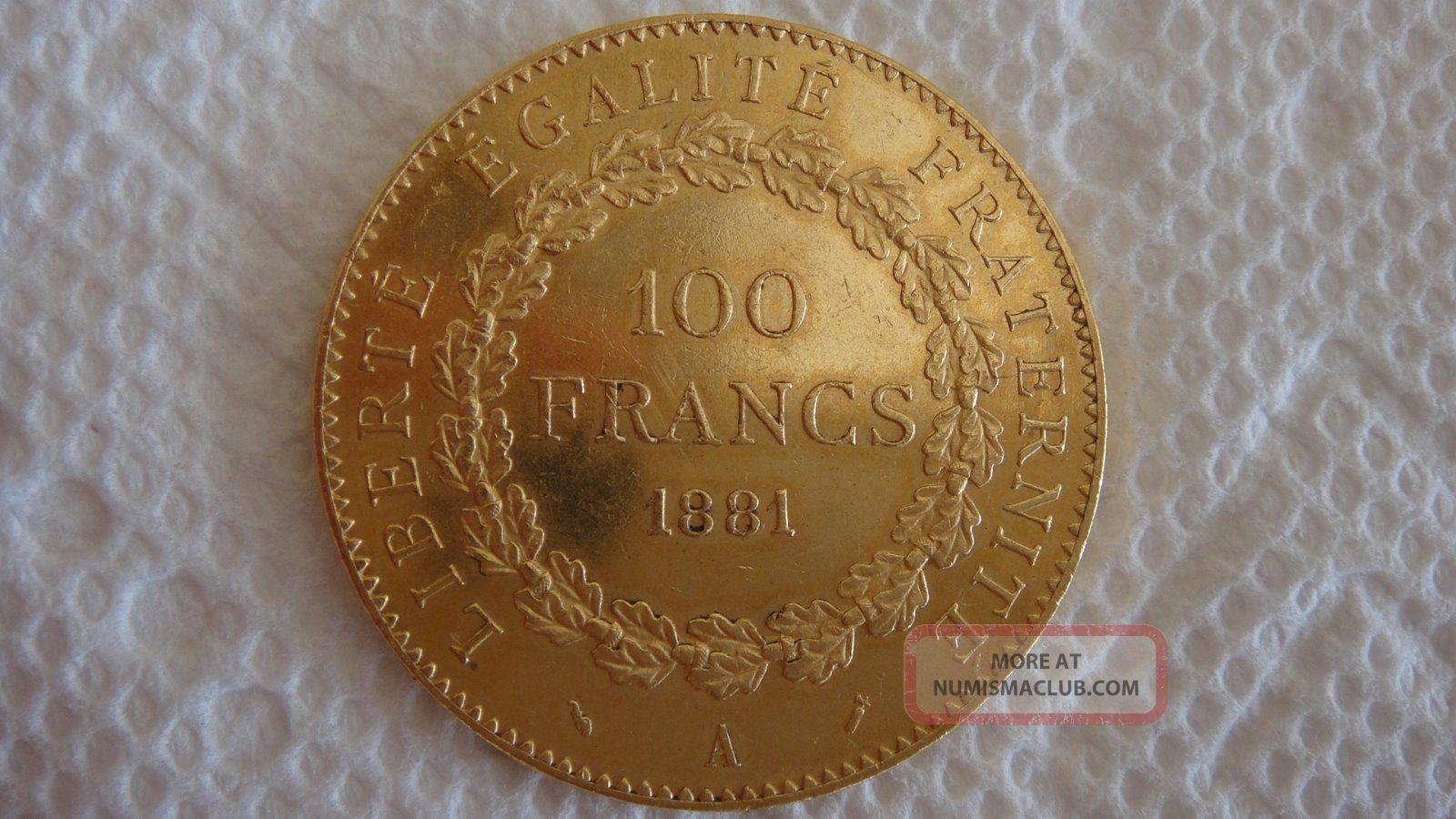 100 Francs Gold 1881 Europe photo