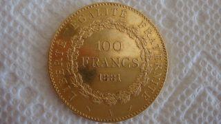 100 Francs Gold 1881 photo