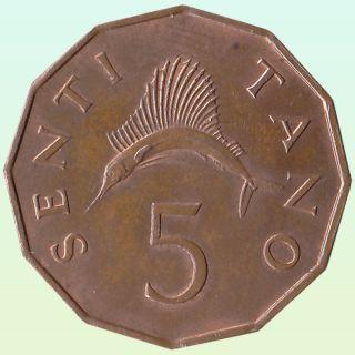 Africa Tanzania 5 Senti 1971 Sailfish Wildlife Animal Coin photo