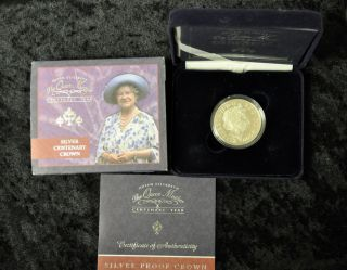 2000 Queen Mother Centenary Five Pound Silver Proof Coin Box photo