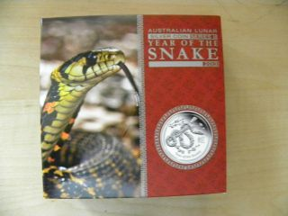 2013 P Australia $8 Lunar Series Ii - Year Of The Snake Proof,  5 Oz 0.  999 Ag, photo