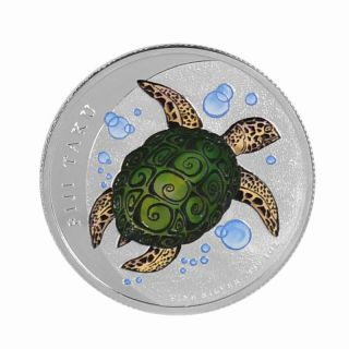 2012 1 Oz Ounce Silver Fiji Taku Turtle Newzealand Pure 999 Colorized Rare photo
