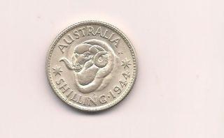 Australia 1944 One Shilling Silver Unc Coin photo