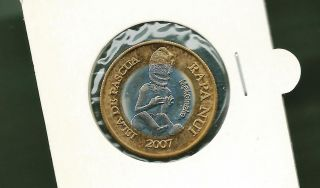 Isle De Pascua Easter Isle 2007 200 Pesos Bi - Metallic Unc Coin photo