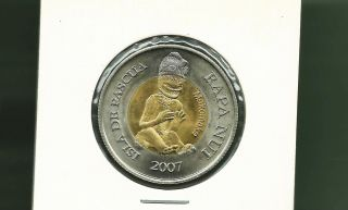 Isle De Pascua Easter Isle 2007 500 Pesos Bi - Metallic Unc Coin photo