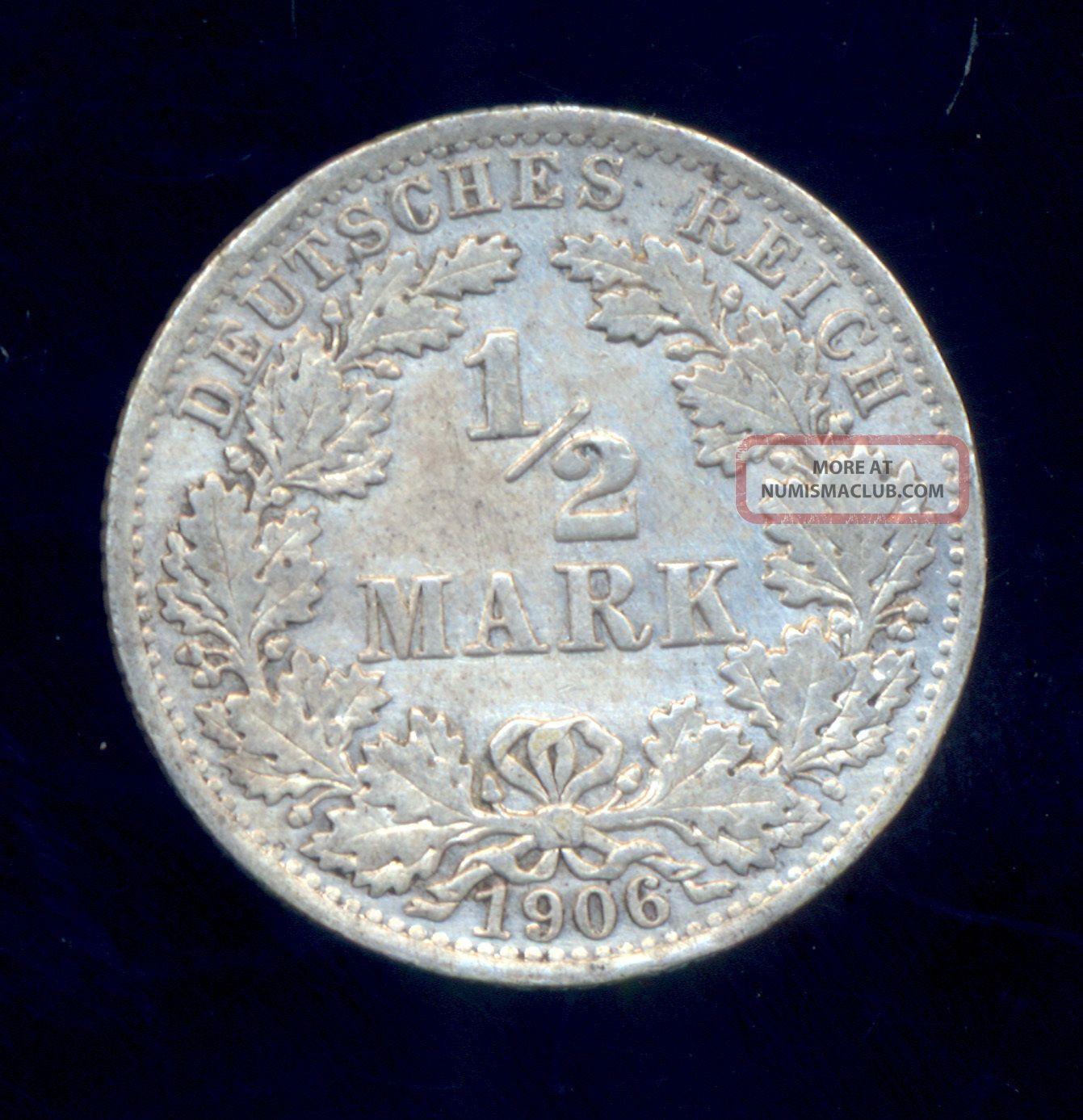 Germany Empire Silver Xf 1/2 Mark 1906 Germany photo