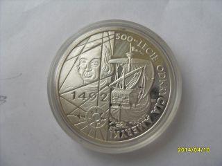 Poland 200,  000 Zl 1992 Discovery Of America 1492 Columbus Unc Silver 1oz photo