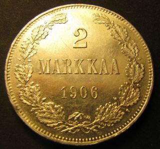 Finland / Russia 2 Markkaa 1906 (aunc) Rare This photo